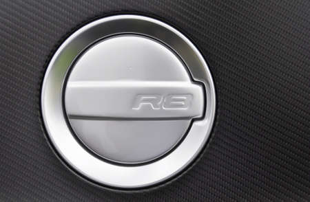 LONDON - SEPTEMBER 04: Fuel cap of an Audi R8 at Chelsea AutoLegends, on September 04, 2011 in London. The R8 was officially launched at the Paris Auto Show on 30 September 2006.
