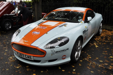 LONDON - SEPTEMBER 04: A Gulf livery Aston Martin DB9 at Chelsea AutoLegends, on September 04, 2011 in London.  The DB9 was launched in 2004.