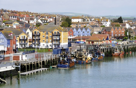 Traditional small British fishing port, Newhaven, England, UK photo