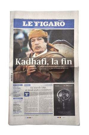 lybia: LONDON - OCTOBER 20: Gaddafis death makes headlines in the press on October 20, 2011. Gaddafi was president of Lybia for 42 years.