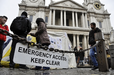inequality: LONDON - OCTOBER 27: Occupy London encampment outside St Pauls cathedral on October 27, 2011 in London. Occupy London is a peaceful demonstration against economic inequality and social injustice.