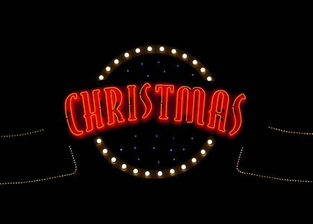 Christmas neon light sign in the night photo