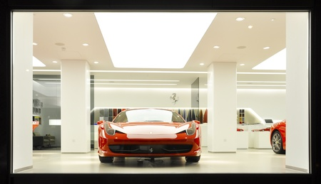 London, UK - November 07, 2011: A Ferrari 458 Italia on display in H. R. Owen showroom