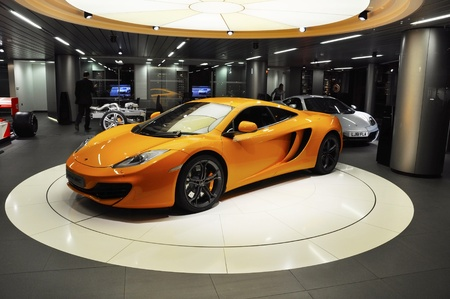 London, UK - November 07, 2011: A McLaren MP4-12C on display at the McLaren showroom on Knightsbridge Redakční