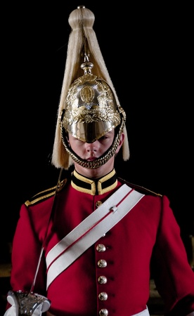 british army: London, UK - April 20, 2011: A sentry of the Queens Guard standing at Horse Guards Parade