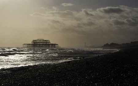 brighton beach: The West Pier in Brighton, England, UK Stock Photo