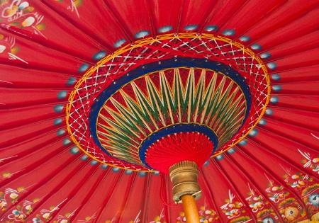 A traditional red Asian umbrella