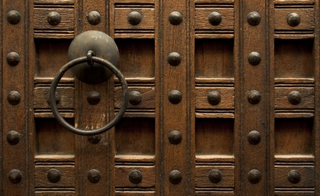 Vintage wood door background photo