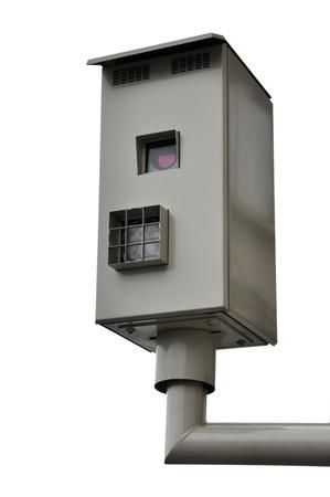 Traffic light camera isolated on white background photo