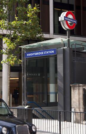 knightsbridge: Knightsbridge underground station entrance in London, UK