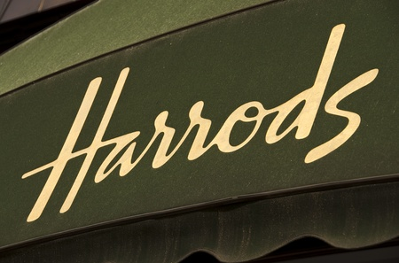 Harrods golden sign on green awning Stock Photo - 11457986