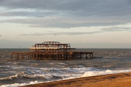 brighton beach: The West Pier by a winter morning, Brighton, England, UK Stock Photo