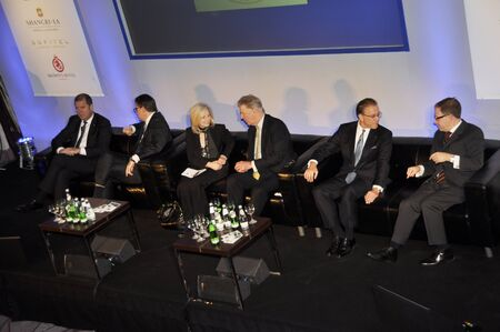 London - UK, January 30, 2012: Speakers on the stage during the 59th UICH les Clefs d'Or International Congress at the Sheraton Park Lane on January 30, 2011 in London Stock Photo - 12257653