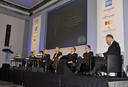 London - UK, January 30, 2012: Speakers on the stage during the 59th UICH les Clefs dOr International Congress at the Sheraton Park Lane on January 30, 2011 in London