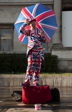 LONDON - SEPTEMBER 17, 2011: Union Jack flag human statue in London, UK