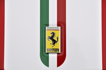 LONDON - SEPTEMBER 4, 2011: Ferrari logo, Italian flag painted on the bodywork of a Ferrari 360 Challenge Stradale