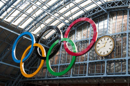 eurostar: London, UK - March 5, 2012: Olympic rings at St Pancras station Editorial