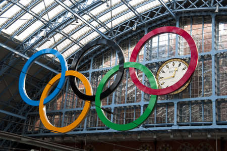 London, UK - March 5, 2012: Olympic rings at St Pancras station Stock Photo - 12513593