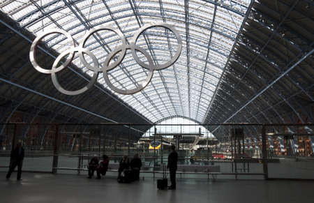 London, UK - March 5, 2012: Olympic rings at St Pancras station