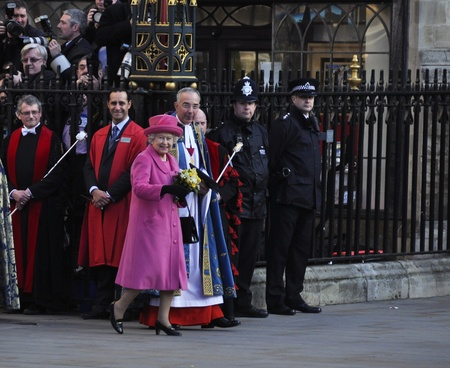 elizabeth: LONDON - MARCH 12: Queen Elizabeth leaves Westminster Abbey after the Commonwealth Day ceremony on March 12, 2012 in London, UK.