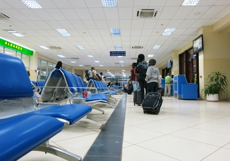 Bamako, Mali - February 18, 2012: Bamako-S�nou International Airport lounge