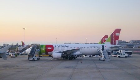 Lisbon, Portugal - February 18, 2012: TAP airplane in Lisbon airport                            Stock Photo - 13022754