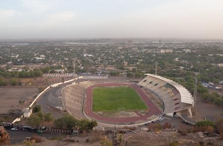 mali: Bamako, Mali - February 13, 2012: Bamako stadium seen from a hilltop