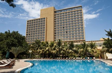 Bamako, Mali - February 14, 2012: LAICO lAmitié Hotel and its swimming pool in Bamako