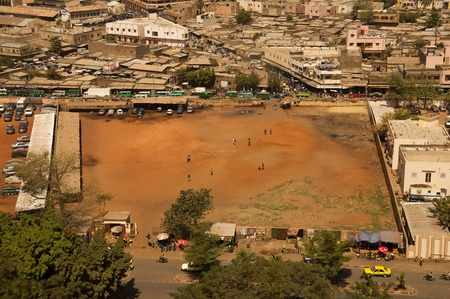 bamako: Bamako, Mali - February 14, 2012: Aerial view of Bamako capital of Mali Editorial