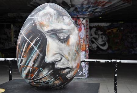 London, UK - March 18, 2012: Easter egg by David Walker created for the Faberg� Big Egg Hunt