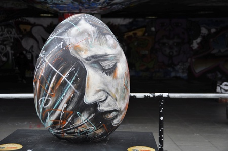 figurative art: London, UK - March 18, 2012: Easter egg by David Walker created for the Faberg� Big Egg Hunt Editorial