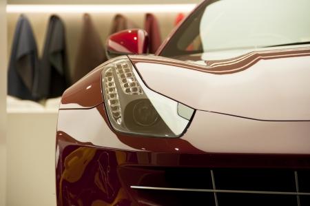 supercar: London, UK - February 24, 2012: Detail of a Ferrari FF