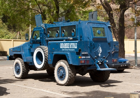 Bamako, Mali - February 17, 2012:Armored Gendarmerie Nationale car in Bamako, Mali Stock Photo - 13064153