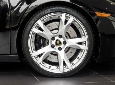 London, UK - May 02, 2012: Black Lamborghini Gallardo wheel and disc brake