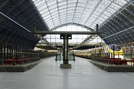 pancras: London, UK - March 05, 2012: Eurostar train in St Pancras International Station, London, UK