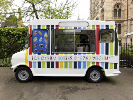 Ice cream van next to the National History Museum in London, UK