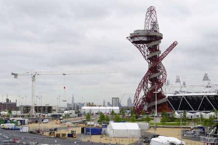 LONDON, UK - MAY 14: The London 2012 Olympic Park under construction on May 14, 2012 in Stratford, London. The London 2012 Olympic Games will be officially opened on July 27, 2012.