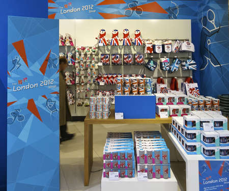 London, UK - April 15, 2012: London 2012 Olympic Games souvenirs in Peter Jones department store, London, England, UK