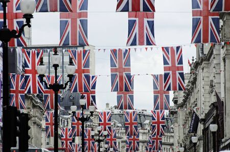 buckingham palace: LONDON, UK, Friday June 1, 2012. Regent Street is decorated with Union Jack flags to celebrate the Queens Diamond Jubilee.