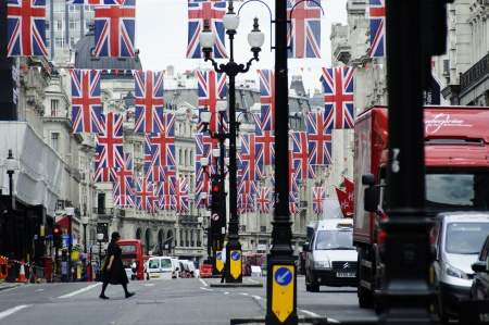buckingham palace: LONDON, UK, Friday June 1, 2012. Regent Street is decorated with Union Jack flags to celebrate the Queens Diamond Jubilee Editorial