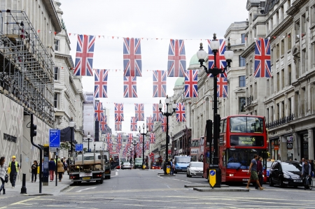 regent: LONDON, UK, Friday June 1, 2012. Regent Street is decorated with Union Jack flags to celebrate the Queens Diamond Jubilee Editorial