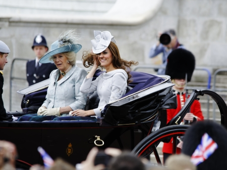 LONDON, UK - June 16: The Duchess of Cambridge, the Duchess of Cornwall and Prince Harry during Trooping the Colour ceremony, on June 16, 2012 in London. Trooping the Colour which takes place every year in June to officialy celebrate the sovereign birthda