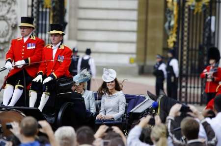 LONDON, UK - June 16: The Duchess of Cambridge and the Duchess of Cornwall during Trooping the Colour ceremony, on June 16, 2012 in London. Trooping the Colour which takes place every year in June to officialy celebrate the sovereign birthday.