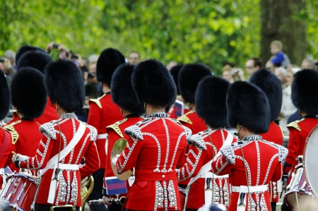 LONDON, UK - June 16: Trooping the Colour ceremony on the Mall and at Buckingham Palace, on June 16, 2012 in London. Trooping the Colour takes place every year in June to officialy celebrate the sovereign birthday.