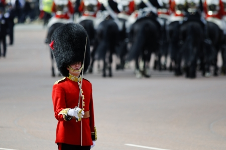 buckingham palace: LONDON, UK - June 16: Trooping the Colour ceremony on the Mall and at Buckingham Palace, on June 16, 2012 in London. Trooping the Colour takes place every year in June to officialy celebrate the sovereign birthday. Editorial