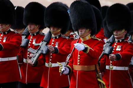 LONDON, UK - June 16: Trooping the Colour ceremony on the Mall and at Buckingham Palace, on June 16, 2012 in London. Trooping the Colour takes place every year in June to officialy celebrate the sovereign birthday. Editorial