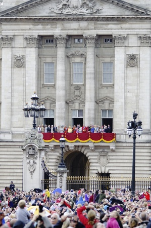 LONDON, UK - June 16: The Royal Family appears on Buckingham Palace balcony during Trooping the Colour ceremony, on June 16, 2012 in London. Trooping the Colour takes place every year in June to officialy celebrate the sovereign birthday.