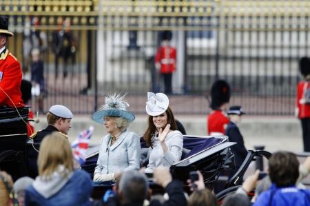 middleton: LONDON, UK - June 16: The Duchess of Cambridge, the Duchess of Cornwall and Prince Harry during Trooping the Colour ceremony, on June 16, 2012 in London. Trooping the Colour which takes place every year in June to officialy celebrate the sovereign birthda Editorial
