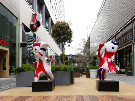 London, UK - May 14, 2012: Mandeville and Wenlock mascots in Westfield commercial centre, Stratford, London, UK