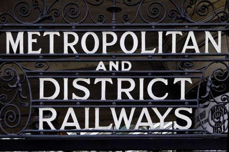 Metropolitan and district railways sign in London, UK photo